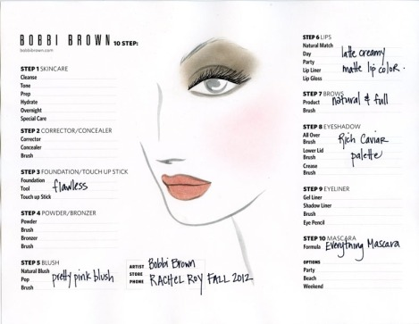 Rachel Roy Face Chart by Bobbi Brown (Fall 2012)