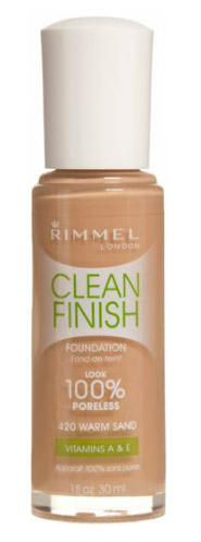 RIMMEL CLEAN FINISH FOUNDATION IN 420 WARM SAND