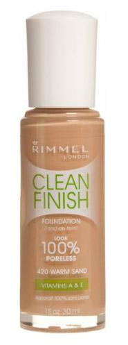 RIMMEL CLEAN FINISH FOUNDATION IN 420 WARM SAND