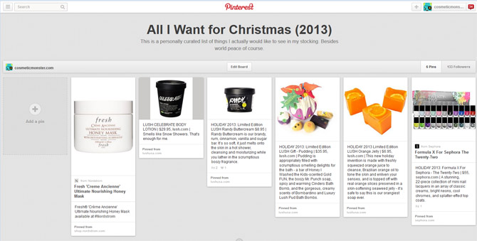 ALL I WANT FOR CHRISTMAS PINTEREST SCREEN SHOT