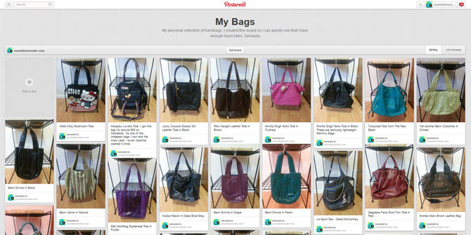 MY BAGS ON PINTEREST SCREEN SHOT