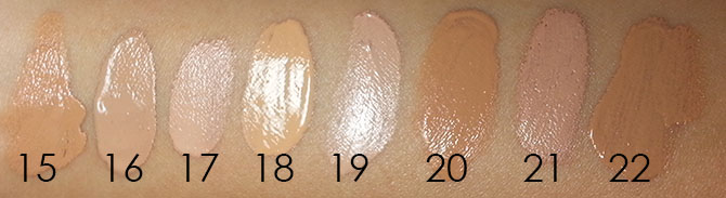 DEPARTMENT STORE BB/CC CREAM SWATCHES - ARTIFICIAL LIGHT